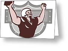 American Football Receiver Touchdown Retro Greeting Card by Aloysius Patrimonio