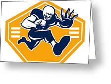 American Football Running Back Stiff Arm Greeting Card