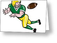 American Football Wide Receiver Catch Ball Cartoon Greeting Card by Aloysius Patrimonio