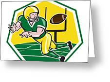 American Football Wide Receiver Catching Ball Cartoon Greeting Card by Aloysius Patrimonio