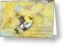 American Goldfinch On A Cedar Twig With Digital Paint And Verse Greeting Card