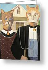 American Gothic Cat Greeting Card