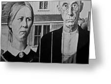 American Gothic In Black And White 1 Greeting Card