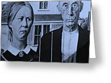 American Gothic In Cyan Greeting Card
