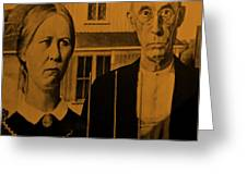 American Gothic In Orange Greeting Card