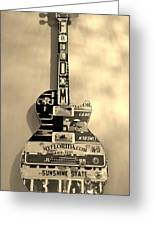 American Guitar In Sepia Greeting Card