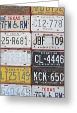 American License Plates Greeting Card
