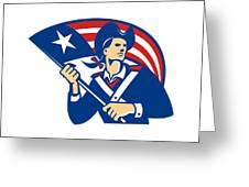 American Patriot Minuteman With Flag Retro Greeting Card