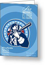 American Patriot Pro Baseball Classic Poster Retro Greeting Card