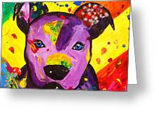 American Pitbull Terrier Dog Pop Art Greeting Card