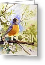 American Robin And Wild Plum Greeting Card