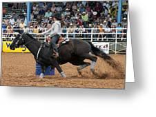 American Rodeo Female Barrel Racer Dark Horse I Greeting Card by Sally Rockefeller