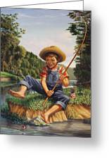 Americana - Country Boy Fishing In River Landscape - Square Format Image Greeting Card