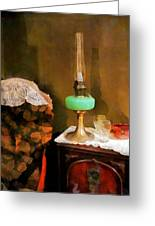 Americana - Still Life With Hurricane Lamp Greeting Card