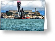 America's Cup And Alcatraz Greeting Card