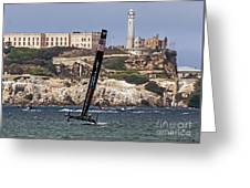 Americas Cup Oracle Team And Alcatraz Greeting Card