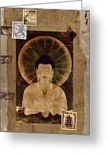 Amida Buddha Postcard Collage Greeting Card