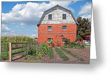 Amish Barn And Garden Greeting Card