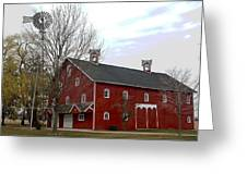 Amish Barn And Wind Mill - Allen County Indiana Greeting Card