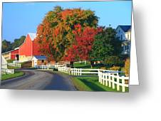 Amish Barn In Autumn Greeting Card