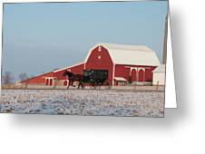 Amish Buggy And Red Barn Greeting Card