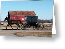 Amish Buggy And Star Barn Greeting Card