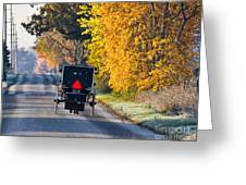 Amish Buggy And Yellow Leaves Greeting Card
