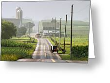 Amish Buggy Confronts The Modern World Greeting Card