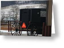 Amish Buggy In Winter Greeting Card