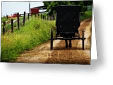 Amish Buggy On Dirt Road Greeting Card