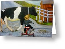 Amish Cattle Crossing Greeting Card