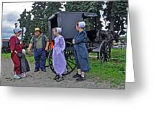 Amish Family Travelers Greeting Card