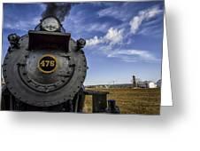Amish Farmland And Brilliant Blue Sky Frame #475 Steam Engine - Strasburg Rr   02 Greeting Card