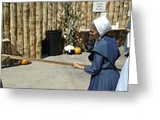 Amish Making Apple Butter Greeting Card