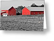 Amish Red Barn And Farm Greeting Card