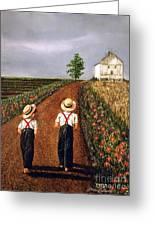 Amish Road Greeting Card by Linda Simon