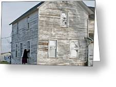 Amish Window Washer Greeting Card