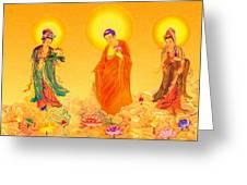Amitabha And Two Bodhisattvas Greeting Card