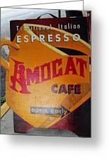 Amocat Cafe Greeting Card