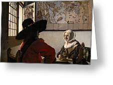 Amorous Couple Greeting Card by Jan Vermeer
