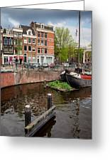 Amstel River Waterfront In Amsterdam Greeting Card