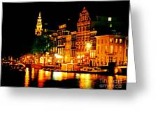 Amsterdam At Night Four Greeting Card