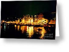 Amsterdam At Night Three Greeting Card by John Malone