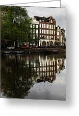 Amsterdam Canal Houses In The Rain Greeting Card