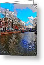 Amsterdam Canal In Spring Greeting Card