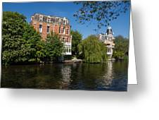 Amsterdam Canal Mansions - Floating By Greeting Card
