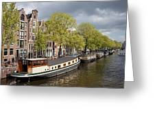 Amsterdam Canal Waterfront Greeting Card