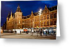 Amsterdam Central Station And Tram Stop At Night Greeting Card