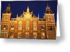 Amsterdam Central Train Station At Night Greeting Card