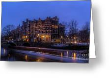 Amsterdam Corner Cafe With Light Trails Greeting Card